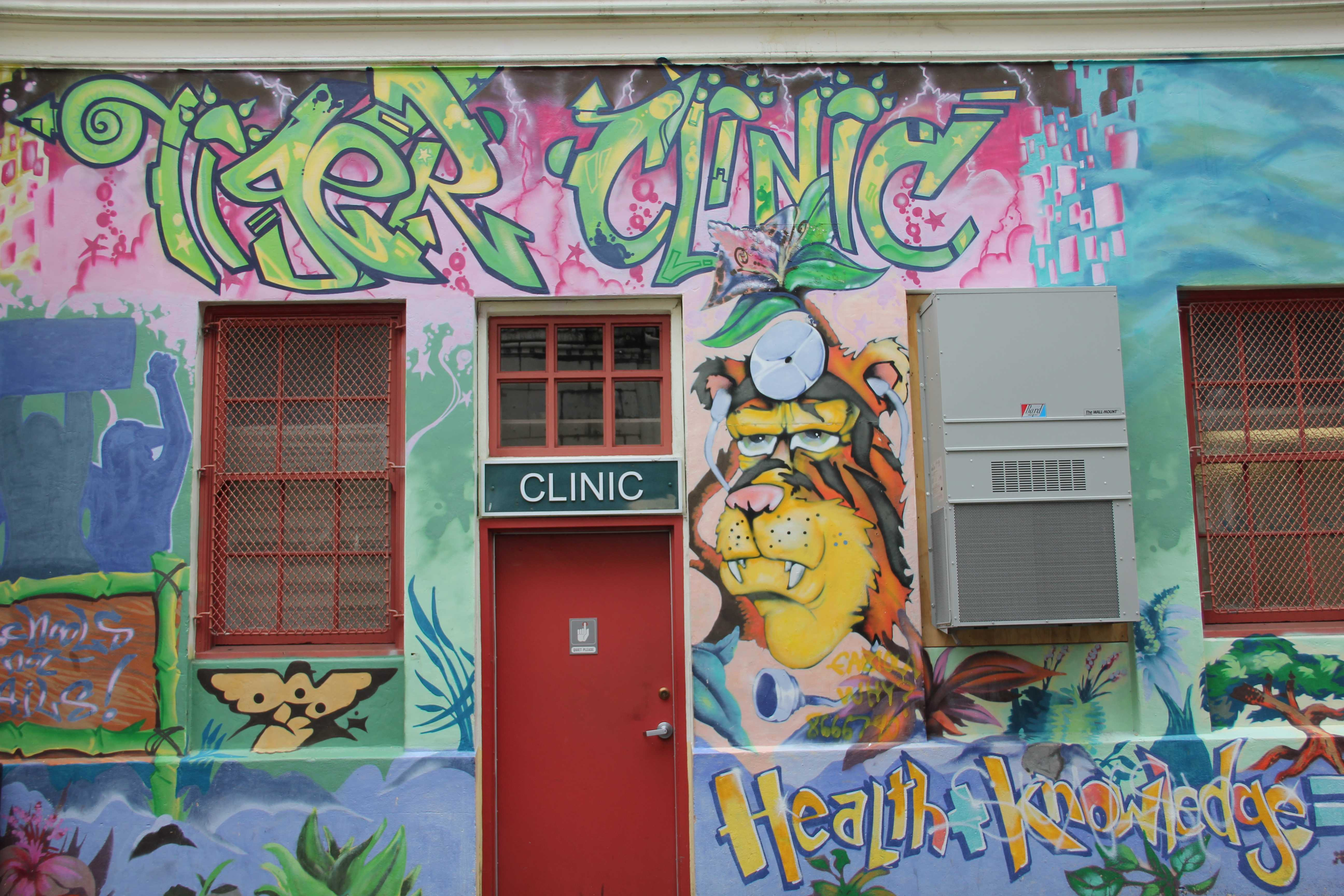 Paint accident leaves clinic mural blank