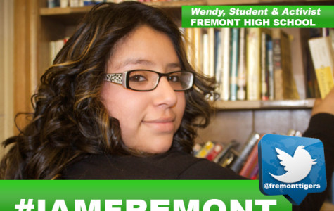 One of the #iamfremont images used in a social media campaign to promote Fremont features sophomore Wendy Mora.