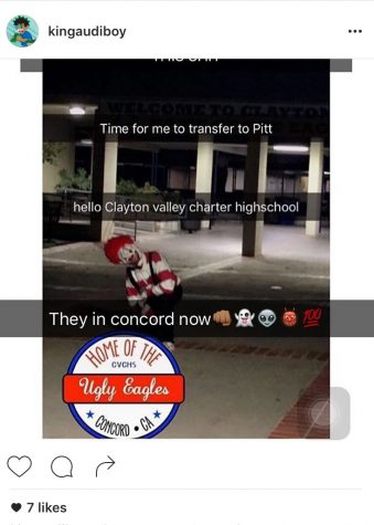 Students in Concord, California report on Instagram about clown sightings.