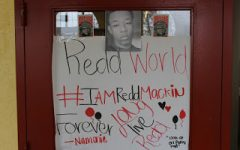 A poster made by sophomore, Namonie Bullard, in honor of Redd's remembrance.